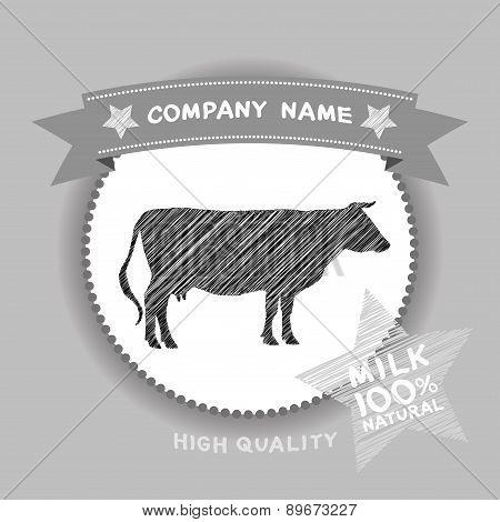 Farm Shop, Cow Silhouette, Milk Diagram And Design Elements In Vintage Style. Vector