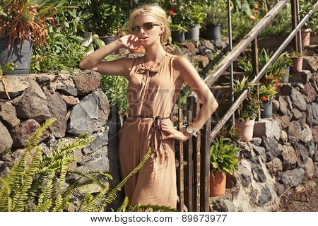 Fashion portrait of luxury sexy blonde girl