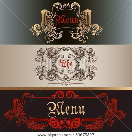 Set Of Antique Menu Designs Luxury Style