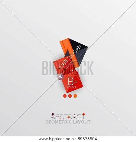 Glossy paper style geometric abstract infographic design, 3d shapes with light edges