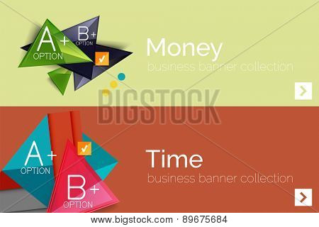 Infographic flat design banner with geometric diagram and options