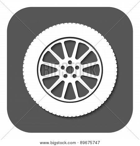 The Tire Icon. Wheel Symbol. Flat