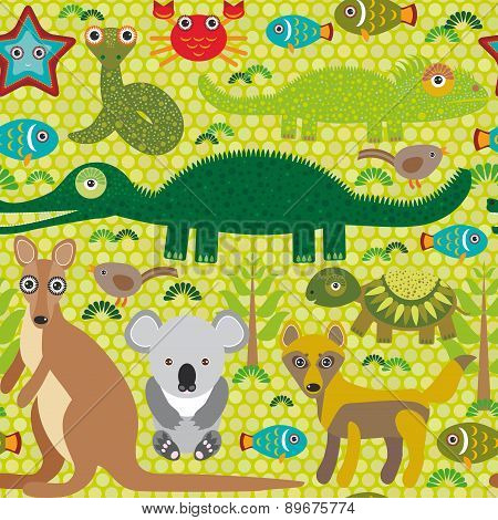 Animals Australia Snake, Turtle, Crocodile, Alliagtor, Kangaroo, Dingo. Seamless Pattern On  Green B