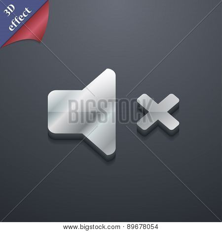Mute Speaker , Sound Icon Symbol. 3D Style. Trendy, Modern Design With Space For Your Text Vector