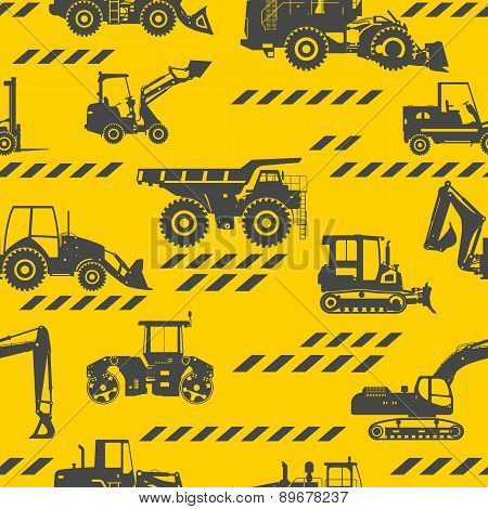Heavy construction machines seamless pattern