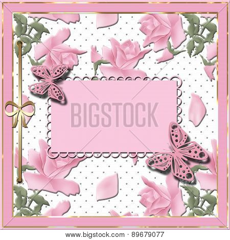 Scrapbook Template With Ribbon And Roses
