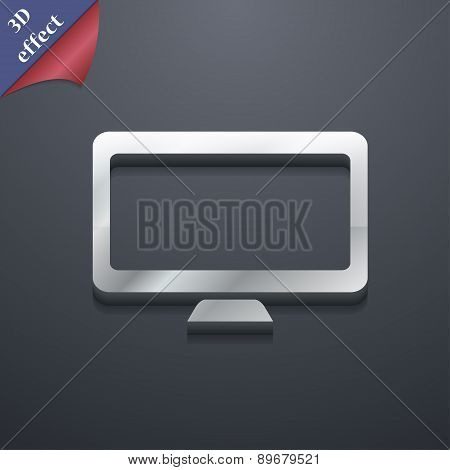 Computer Widescreen Monitor Icon Symbol. 3D Style. Trendy, Modern Design With Space For Your Text Ve