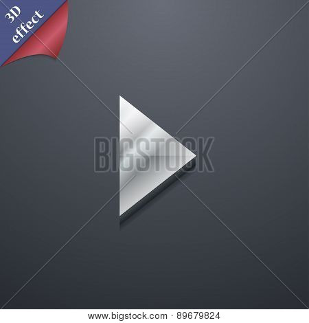 Play Button Icon Symbol. 3D Style. Trendy, Modern Design With Space For Your Text Vector