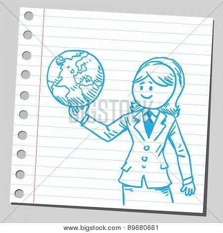 Businesswoman holding planet Earth