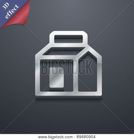 Milk, Juice, Beverages, Carton Package Icon Symbol. 3D Style. Trendy, Modern Design With Space For Y