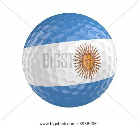 Golf ball 3D render with flag of Argentina, isolated on white