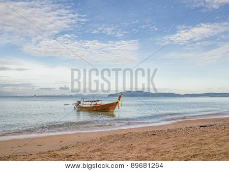 Long Tail Boat In The Sea