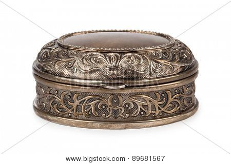Vintage metal box isolated on white background