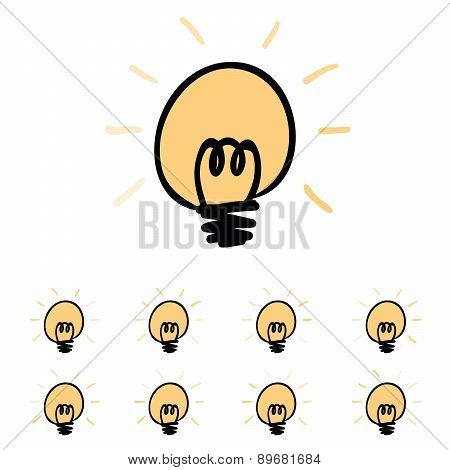 Bulb Loading Icon Vector Illustration,