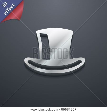 Cylinder Hat Icon Symbol. 3D Style. Trendy, Modern Design With Space For Your Text Vector