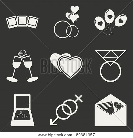 Flat in black and white concept mobile application wedding icons
