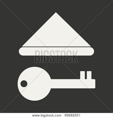 Flat in black and white mobile application roof key
