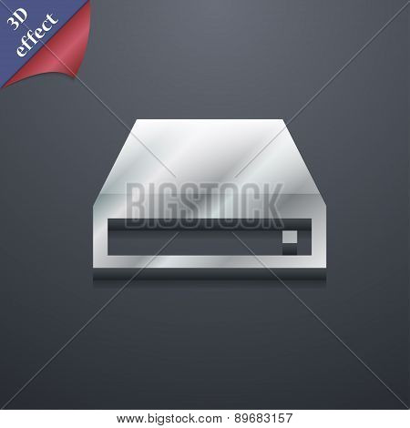 Cd-rom Icon Symbol. 3D Style. Trendy, Modern Design With Space For Your Text Vector