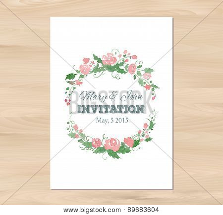 Vector wedding invitation with watercolor flowers and typographi