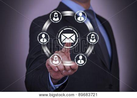 Businessman Touching Connection Concept