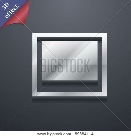 Photo Frame Template Icon Symbol. 3D Style. Trendy, Modern Design With Space For Your Text Vector