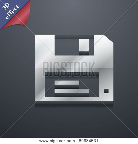 Floppy Icon Symbol. 3D Style. Trendy, Modern Design With Space For Your Text Vector