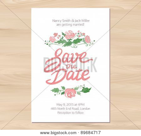 Vector wedding invitation with watercolor flowers and hand drawn