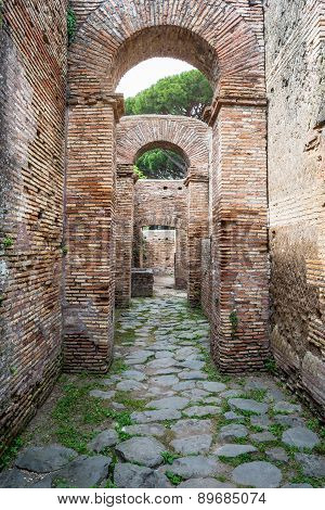 Roman Arches In The Old Town Of Ostia, Rome, Italy