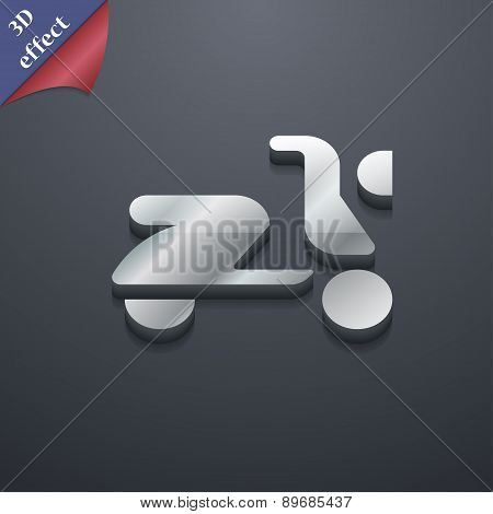 Scooter, Bike Icon Symbol. 3D Style. Trendy, Modern Design With Space For Your Text Vector