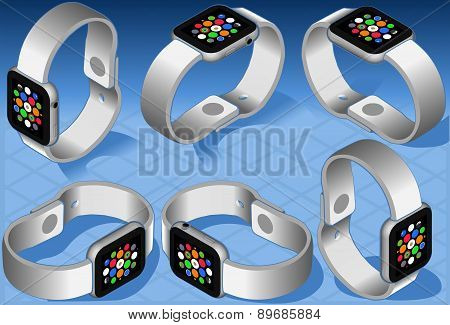 Isometric White Smart Watch In Six Views