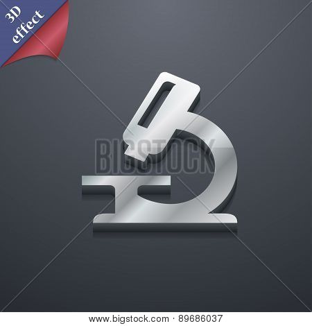 Microscope Icon Symbol. 3D Style. Trendy, Modern Design With Space For Your Text Vector