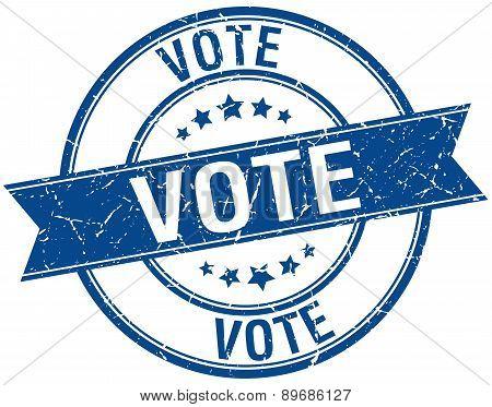 Vote Grunge Retro Blue Isolated Ribbon Stamp