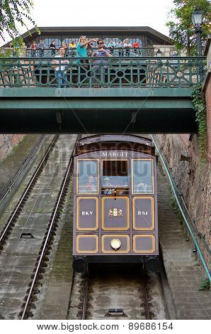 Budapest - October 28: Funicular In Budapest Is Part Of The Unesco World Heritage Since 1987. Taken