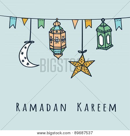 Arabic Lanterns, Flags, Moon And Stars, Ramadan Vector Illustration
