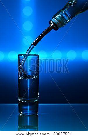 Vodka On Blue Background
