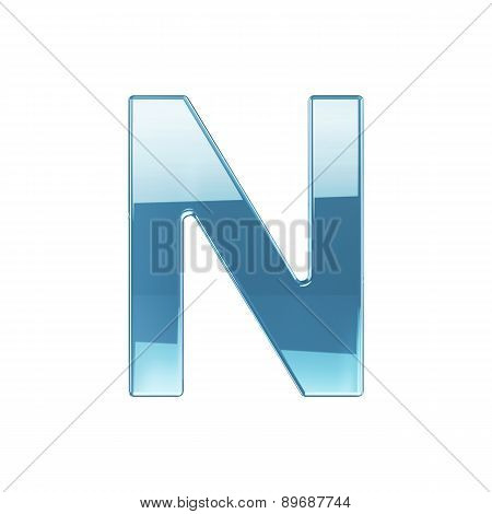 3D Render Of Glass Glossy Transparent Alphabet Letter Symbol - N Isolated On White Background