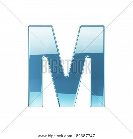 3D Render Of Glass Glossy Transparent Alphabet Letter Symbol - M Isolated On White Background