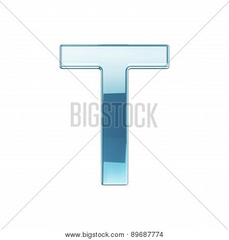 3D Render Of Glass Glossy Transparent Alphabet Letter Symbol - T Isolated On White Background