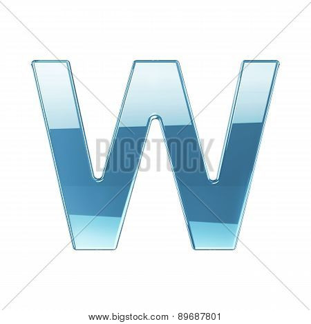 3D Render Of Glass Glossy Transparent Alphabet Letter Symbol - W Isolated On White Background