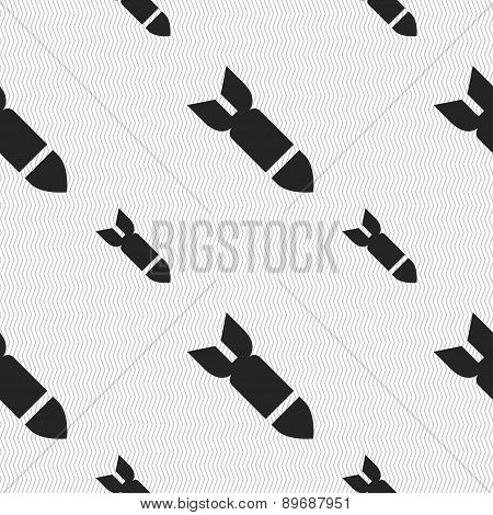 Missile,rocket Weapon Icon Sign. Seamless Pattern With Geometric Texture. Vector