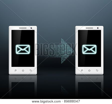 Two Smartphones Transmit Messages