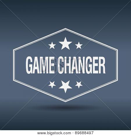 Game Changer Hexagonal White Vintage Retro Style Label
