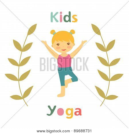 Cute yoga kids card with little girl