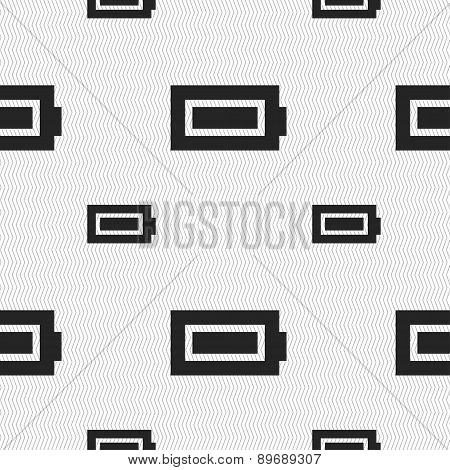 Battery Fully Charged Icon Sign. Seamless Pattern With Geometric Texture. Vector