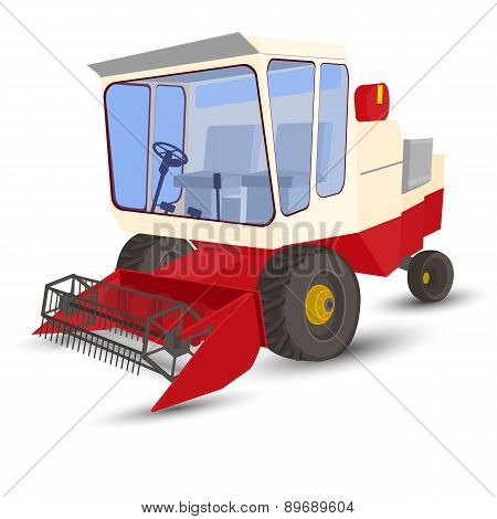 Combine-harvester Red, Isolated Image On A White Background