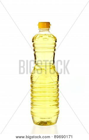 Vegetable Oil For Cooking In A Bottle Isolated On White