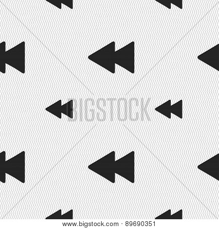 Rewind Icon Sign. Seamless Pattern With Geometric Texture. Vector