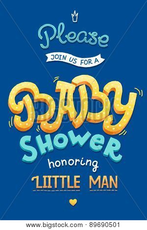 Baby shower card invitation. Typography greeting card little baby boy.