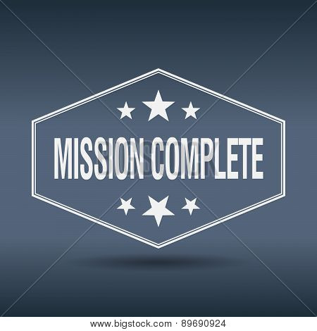 Mission Complete Hexagonal White Vintage Retro Style Label