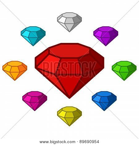 Cartoon Diamonds Icons Set